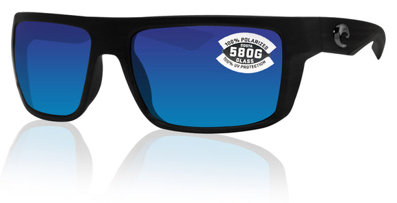 Costa Del Mar Motu Black Frame Blue Mirror 580G Glass Polarized Lens