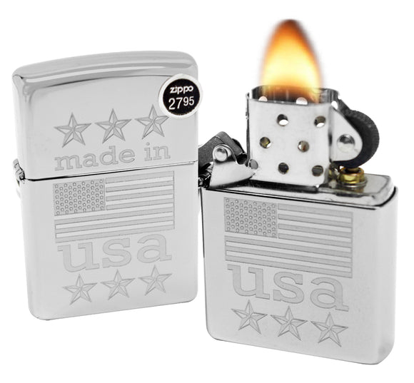 Zippo 29430 Made in USA with Flag High Polish Chrome Finish Windproof Lighter