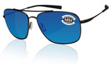 Costa Del Mar Canaveral Satin Black Frame Blue Mirror 580G Glass Polarized Lens