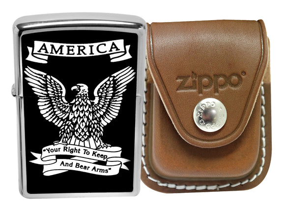 Zippo 28290 Eagle Right Bear Arms Lighter + LPCB Brown Leather Belt Clip Pouch