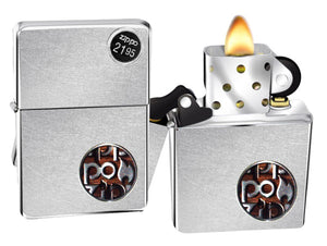 Zippo Lighter 29872 Flame Toffee Button Logo Street Chrome Finish Windproof New