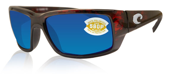 Costa Del Mar Fantail Tortoise Frame Blue Mirror 580P Plastic Polarized Lens