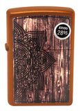 Zippo Lighter 29828 Wood Mandala Design Toffee Finish Windproof Brand New