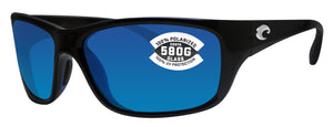 Costa Del Mar Tasman Sea Shiny Black Frame Blue Mirror 580G Glass Polarized Lens