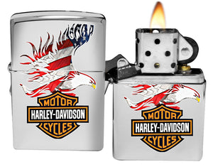 Zippo 28082 Harley Davidson Flag Eagle High Polish Chrome Lighter