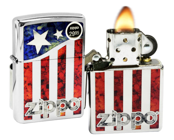 Zippo 29095 American Flag Fusion High Polish Chrome Windproof Pocket Lighter New