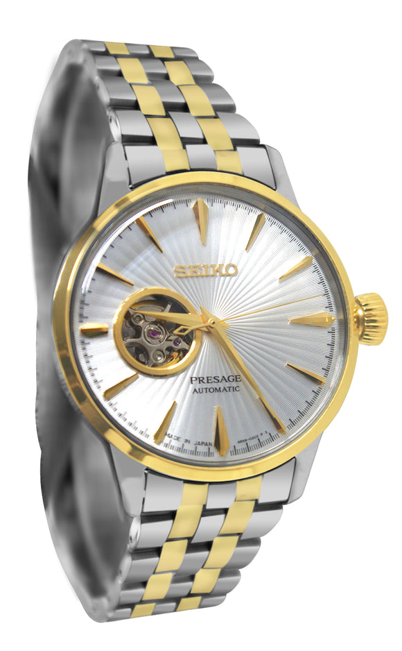 Seiko SSA358 Presage Cocktail Time Automatic Silver Gold Steel Bracelet Watch New