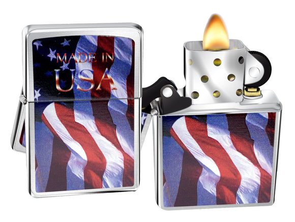 Zippo 24797 Made In USA Flag Brushed Chrome Windproof Lighter