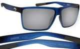 Costa Del Mar Rincon Atlantic Blue Gray Silver Mirror 580P Plastic Polarized