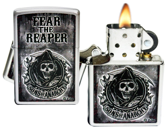 Zippo 28502 Sons Of Anarchy Fear The Reaper Satin Chrome Lighter