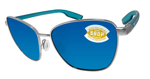 Costa Del Mar Paloma Brushed Silver Frame Blue Mirror 580 Plastic Polarized Lens