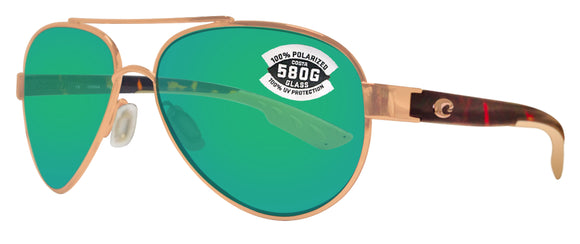 Costa Del Mar Loreto Rose Gold Frame Green 580 Glass Polarized Lens