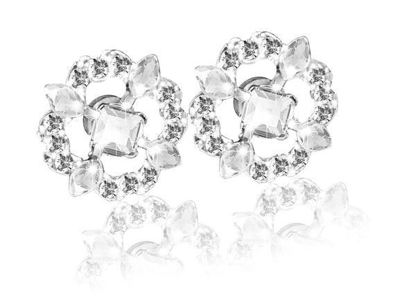 Swarovski Silver Plated Sparkling Dance Flower Stud Earrings 5396227