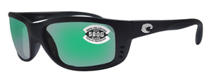 Costa Del Mar Zane Matte Black Frame Green Mirror 580G Glass Polarized Lens