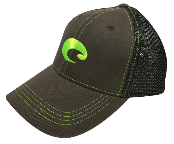 Costa Del Mar Neon Trucker Graphite Hat Green logo Adjustable NEW HA 55NG
