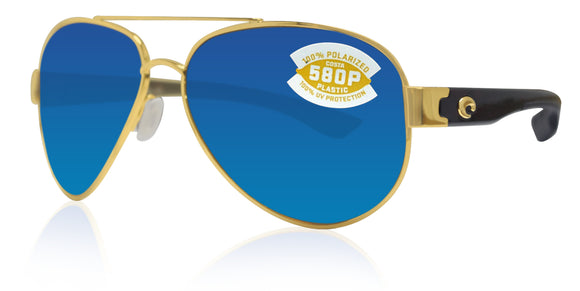 Costa Del Mar South Point gold frame blue mirror 580 plastic lens