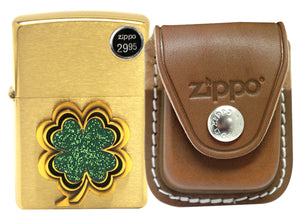 Zippo 28806 Brushed Brass Finish Lighter + LPCB Brown Leather Pouch Clip