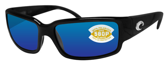 Costa Del Mar Caballito Black Frame Blue Mirror 580P Plastic Polarized Lens