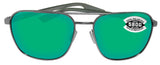 Costa Del Mar Wader Brushed Gunmetal Frame Green Mirror 580 Glass Polarized Lens