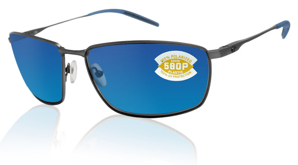 Costa Del Mar Turret Dark Gunmetal Black Blue Mirror 580 Plastic Polarized Lens