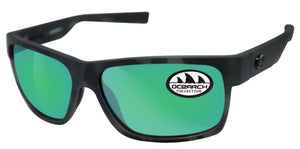 Costa Del Mar Half Moon Ocearch Tiger Shark Frame Green Mirror 580G Glass Lens