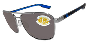 Costa Del Mar Wader Brushed Silver Frame Gray 580 Plastic Polarized Lens