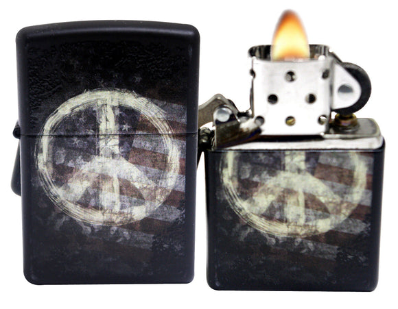 Zippo 28864 Peace Sign On USA Distressed Flag Black Matte Lighter
