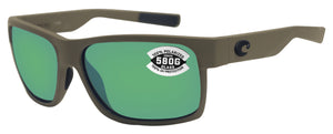 Costa Del Mar Half Moon Matte Moss Frame Green Mirror 580G Glass Polarized Lens
