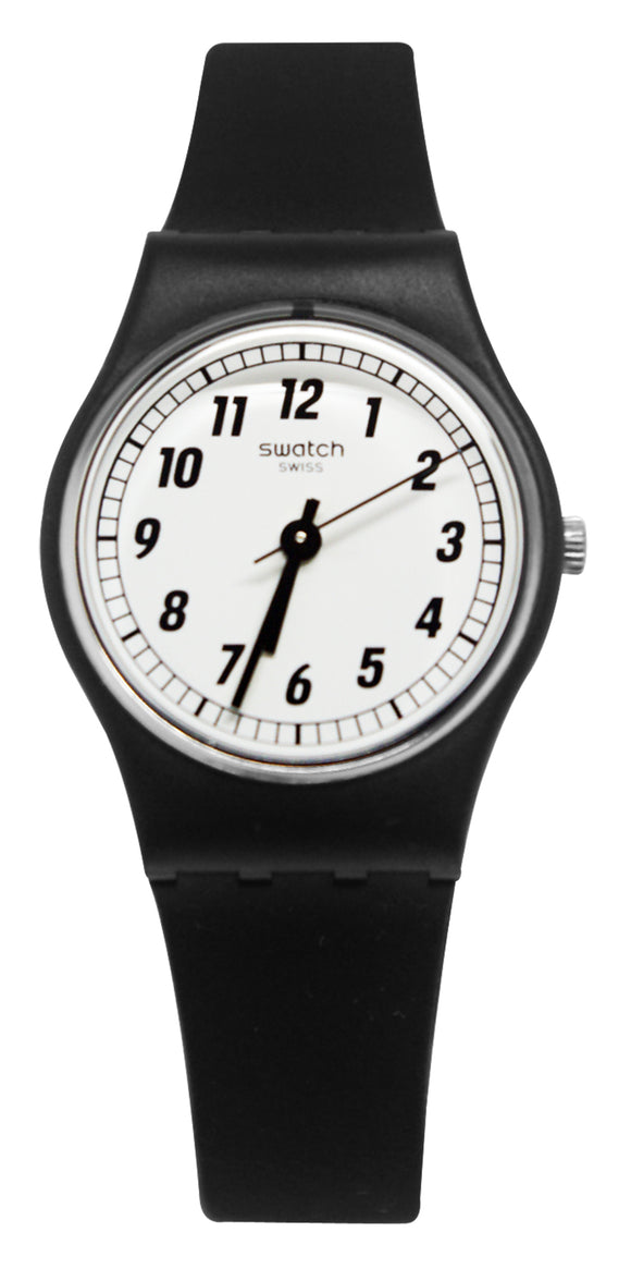 Swatch LB184 Something Black White Analong Dial Silicone Band Watch New