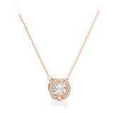 Swarovski sparkling dance round necklace white rose-gold tone plated 5272364
