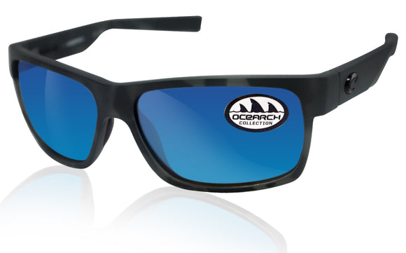 Costa Del Mar Half Moon Ocearch Matte Tiger Shark Blue Mirror 580P Plastic Lens