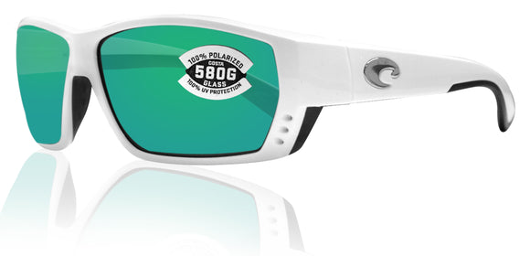 Costa Del Mar Tuna Alley White Frame Green Mirror 580G Glass Polarized Lens