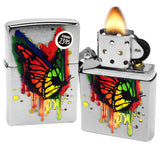 Zippo 29392 Butterfly Color Drip Spray Paint Brushed Chrome Finish Lighter New