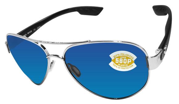 Costa Del Mar South Point Palladium Silver Frame Blue Mirror 580 Plastic Lens