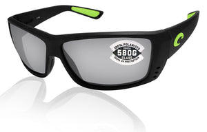 Costa Del Mar Cat Cay Matte Black Green Frame Gray Silver Mirror 580 Glass Lens