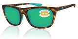 Costa Del Mar Cheeca Shadow Tortoise Green Mirror 580 Plastic Polarized Lens