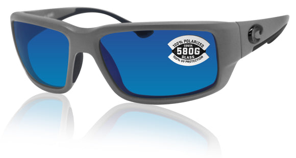Costa Del Mar Fantail Gray Frame Blue Mirror 580G Glass Polarized Lens