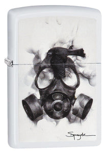 Zippo 29646 Steven Spazuk Gas Mask Fumage Bird White Matte Finish Lighter New
