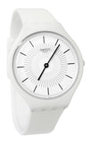 Swatch SVOW100 Skinpure White Dial Plastic Case Silicone Rubber Band Watch New