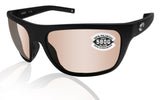 Costa Del Mar Broadbill Matte Black Copper Silver Mirror 580 Glass Polarized Lens