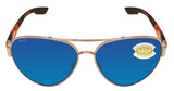 Costa Del Mar South Point Rose Gold Tortoise Blue Mirror 580 Plastic Polarized
