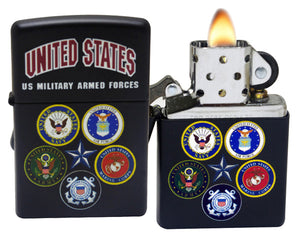 Zippo 28898 US Military Armed Forces Alliance Black Matte Windproof Lighter NEW