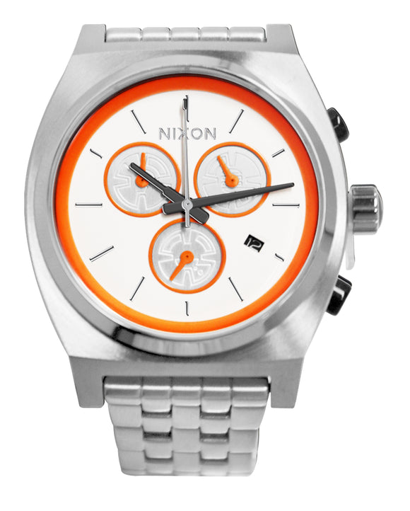 Nixon A972SW-2606 Time Teller Chronograph Date White Orange Silver Steel Watch