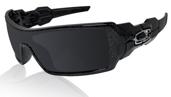 Oakley Oil Rig Black Silver Ghost Text Black Iridium Lens Sunglasses 0OO9081
