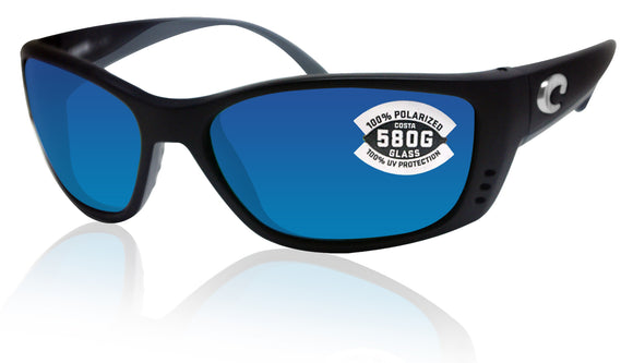 Costa Del Mar Fisch Black Frame Blue Mirror 580 Glass Polarized Lens