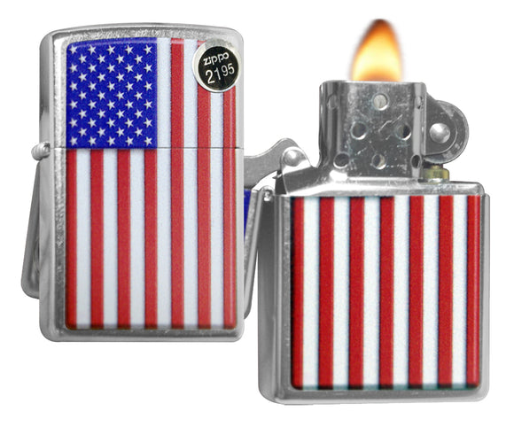 Zippo 29722 Patriotic USA American Flag Street Chrome Finish Windproof Lighter