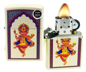 Zippo 29419 Ganesha Cream Matte Finish Windproof Pocket Lighter New