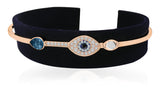 Swarovski symbolic evil eye bangle blue mixed metal finish 5171991