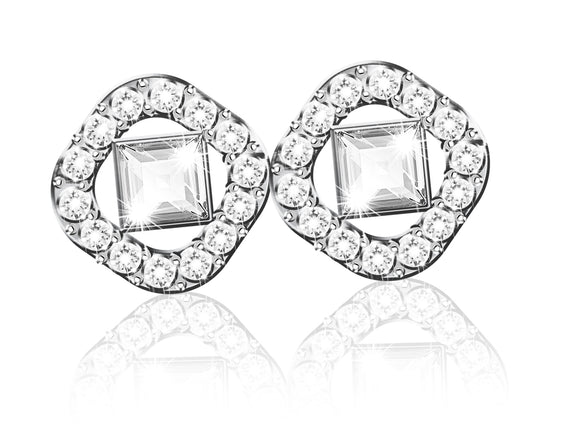 Swarovski angelic square pierced earrings white rhodium plated 5368146
