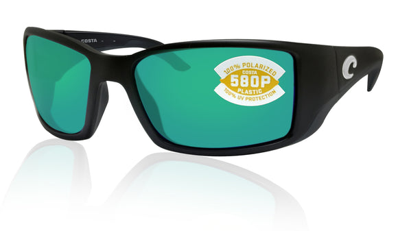 Costa Del Mar Blackfin Black Frame Green Mirror 580P Plastic Polarized Lens - Green Mirror / Plastic 580P